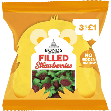 Bonds Filled Strawberries 50g packet (UK)