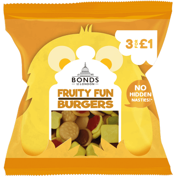 Bonds Fruity Fun Burgers 50g packet (UK)