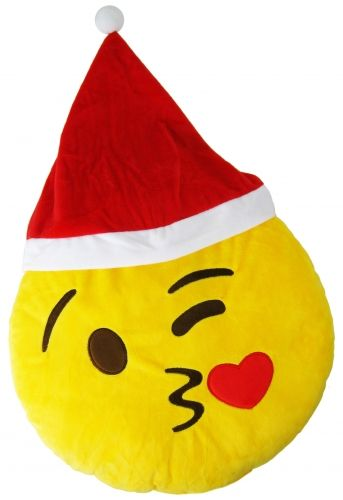 "Christmas ""Blowing A Kiss"" Icon Emoticon Novelty Stuffed Cushion"
