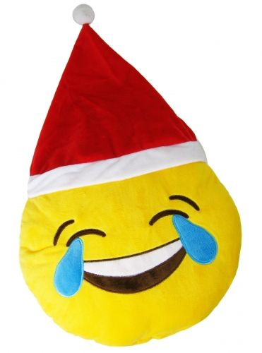 "Christmas ""Crying in Laughter"" Icon Emoticon Novelty Stuffed Cushion"
