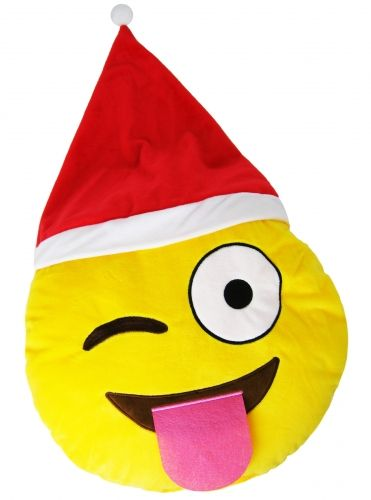 "Christmas ""Winking with Tongue Out"" Icon Emoticon Novelty Stuffed Cushion"