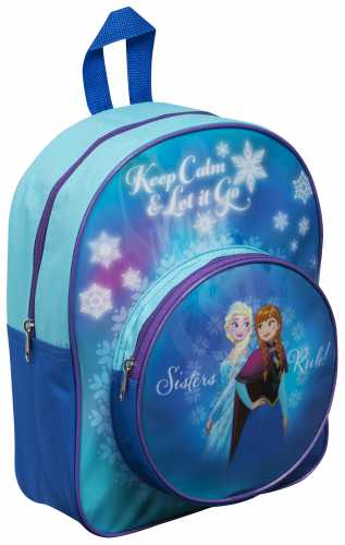 "DFR8-8043 Official Disney ""Frozen"" Character Junior School Backpack with Extra Front Pocket"