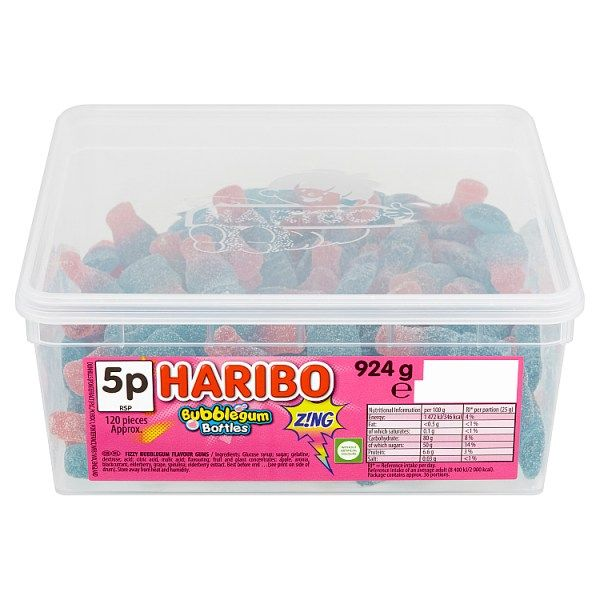 HARIBO Bubblegum Bottles Z!NG 120 Pieces 924g