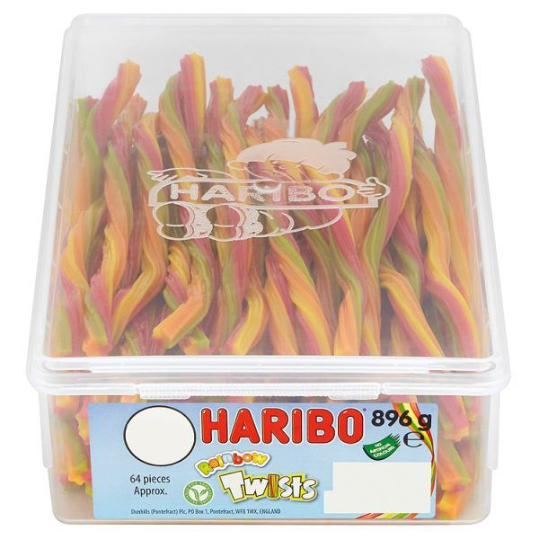 HARIBO Rainbow Twists Full Tub 64 Pieces