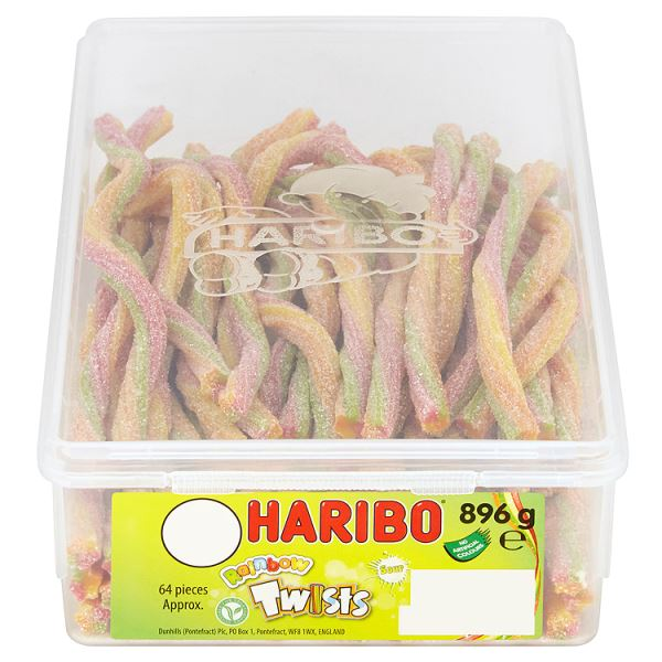 Haribo Sour Rainbow Twists 64 Pieces Full Tub