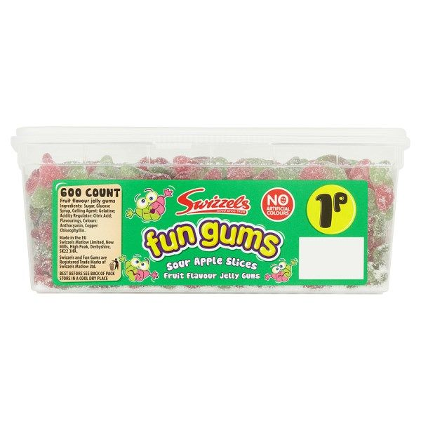 Swizzels Fun Gums Sour Apple Slices 600 1p Sweets